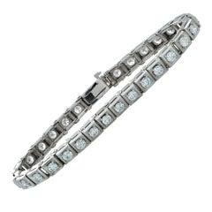 3.75 Carat Diamond 18 Karat White Gold Line Bracelet