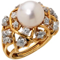 Tiffany & Co. Schlumberger  GIA Graded Natural Pearl and Diamond Ring