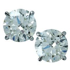 GIA Graded 3.01 Carat Diamond Solitaire Stud Earrings