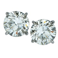 4.18 Carat Round Brilliant Cut Diamond Solitaire Stud Earrings