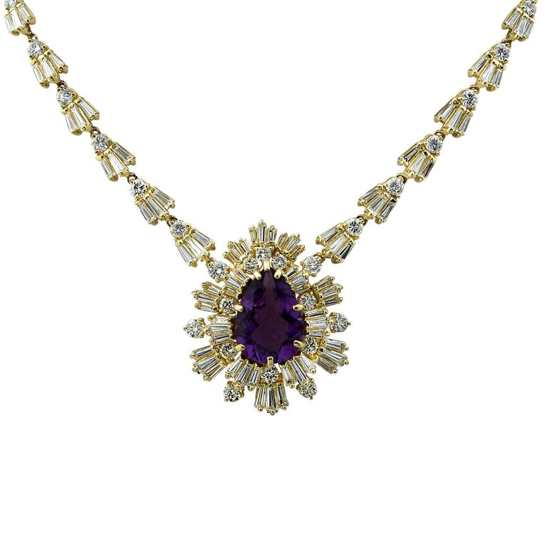 Amethyst and 15.5 Carat Diamond 18 Karat Yellow Gold Necklace For Sale