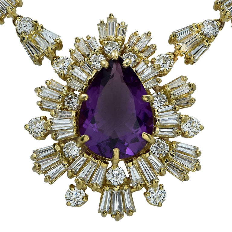 Modern Amethyst and 15.5 Carat Diamond 18 Karat Yellow Gold Necklace For Sale