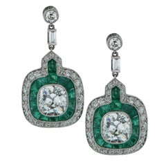 Modern Art Deco Style Old Mine Cut Diamond Dangle Earrings