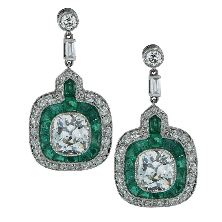 Modern Art Deco Style Old Mine Cut Diamond Dangle Earrings For Sale