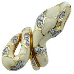 Enamel and Diamond Snake 18 Karat Yellow Gold Snake Ring
