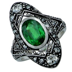 Art Deco Tsavorite Garnet and Old European Diamond Ring