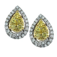1 Carat Diamond 18 Karat White and Yellow Gold Stud Earrings