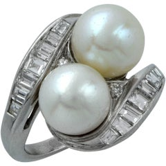 Akoya Pearl and Diamond Bypass Platinum Ring