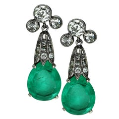 Mordern Edwardian Inspired Emerald and Diamond White Gold Earrings