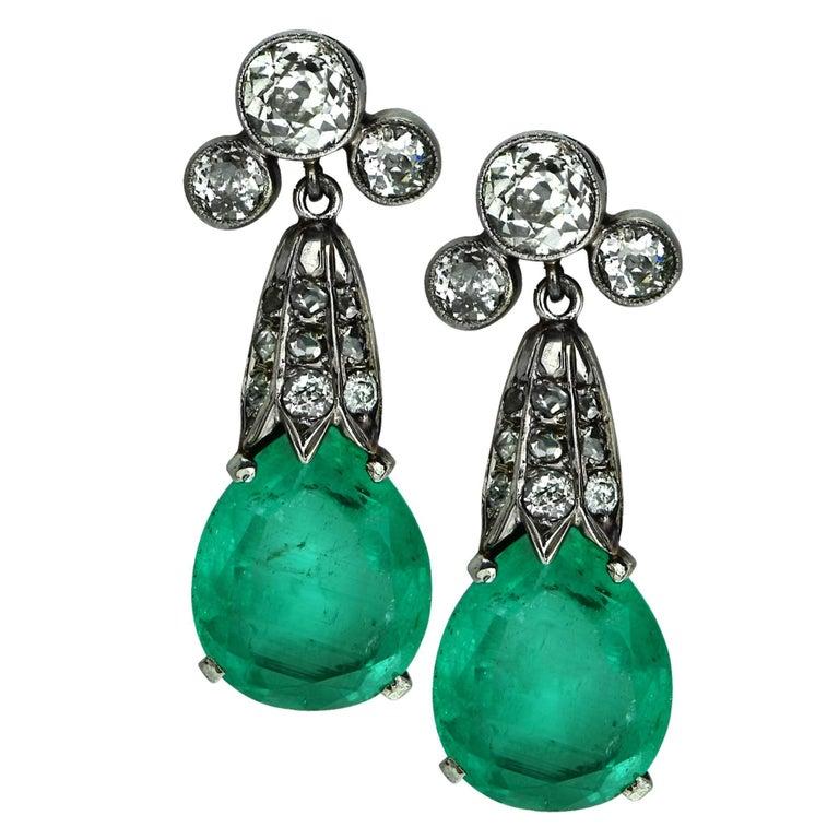 Mordern Edwardian Inspired Emerald and Diamond White Gold Earrings