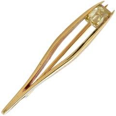 Old Mine Cut Diamond Tweezer Brooch Pin