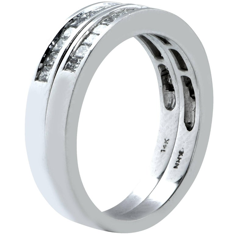 Modern Matching 1.25 Carat Diamond Wedding Band Set For Sale