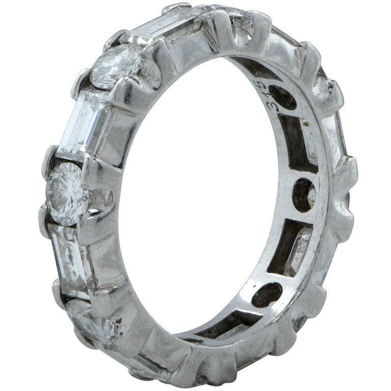 Modern 3.15 Carat Diamond Wedding Eternity Band For Sale