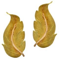 Buccellatti Leaf Yellow Gold Earrings