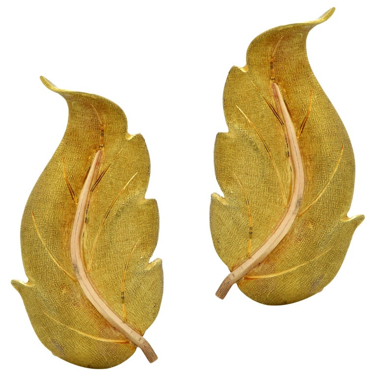 Buccellatti Leaf Yellow Gold Earrings For Sale