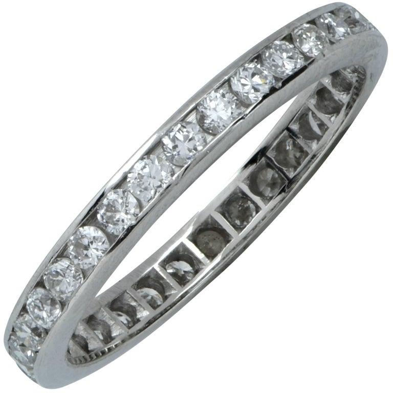 .80 Carat Diamond Platinum Wedding Eternity Band For Sale