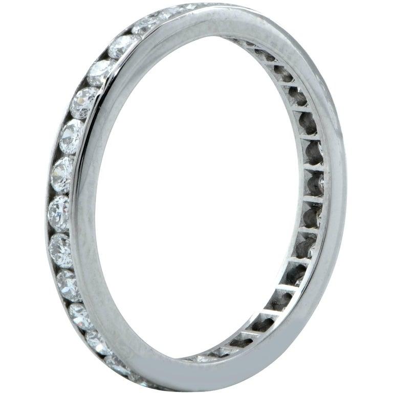 Round Cut .80 Carat Diamond Platinum Wedding Eternity Band For Sale