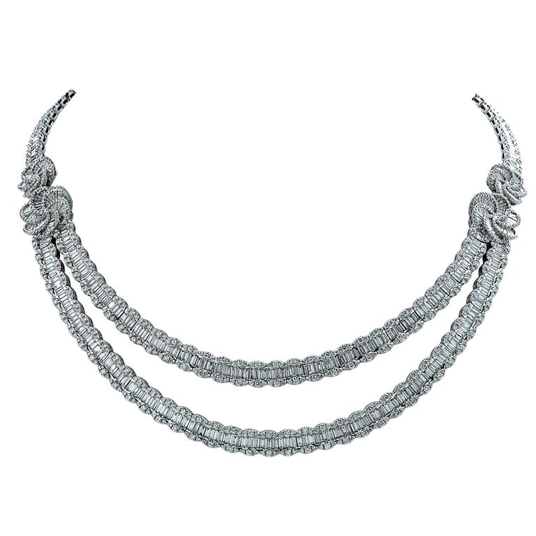 40 Carat Diamond Illusion Bib Necklace