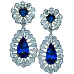 Day and Night Sapphire Diamond Dangle Earrings