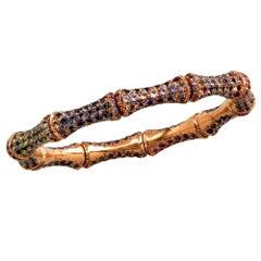 18 Karat Rose Gold Sapphire Gucci Bamboo Bracelet