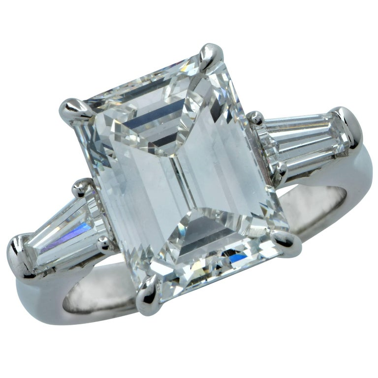 5.03 Carat GIA Graded Emerald Cut Diamond Engagement Ring