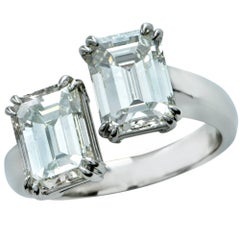 4.02 Carat Emerald Cut Diamond Platinum Bypass Ring