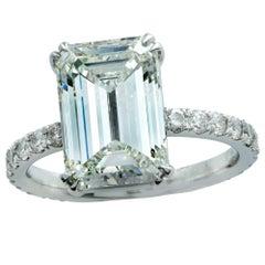 4.05 Carat GIA Graded Emerald Cut Diamond Engagement Ring