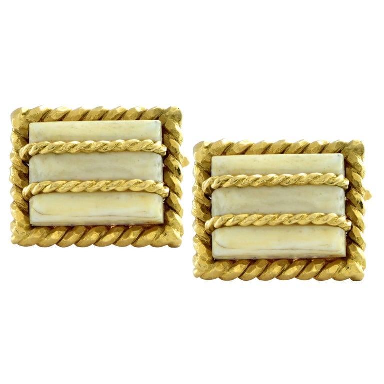 David Webb 18 Karat Yellow Gold and Bone Cufflinks