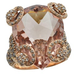 Gucci Morganite and Rose Gold Horsebit Stirrup Cocktail Ring
