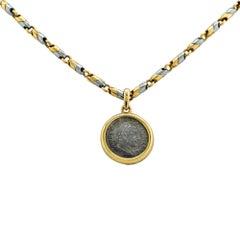 Bvglari Ancient Coin Gold Steel Pendant Neclace