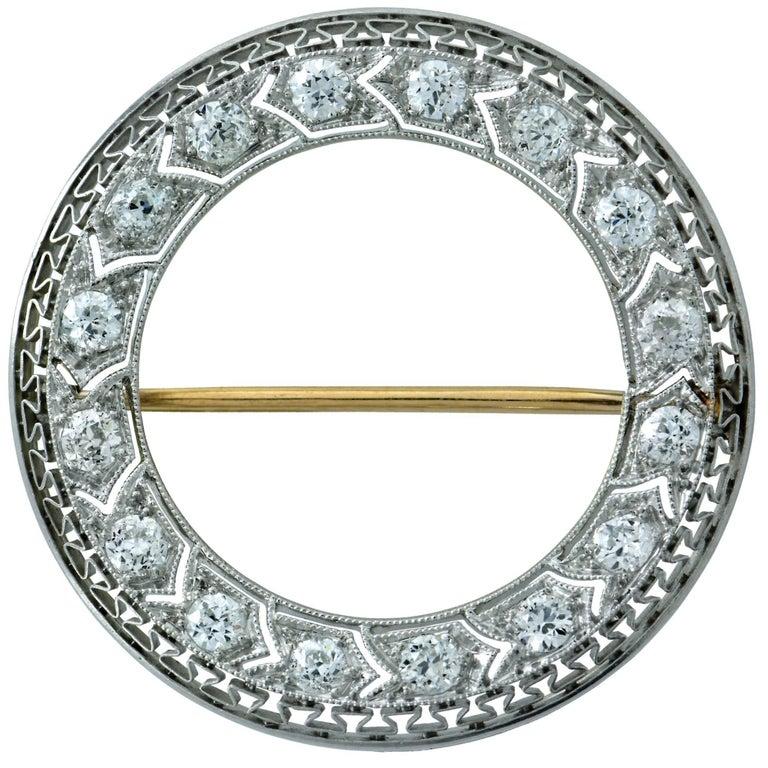 Tiffany & Co. Art Deco Platinum and Diamond Brooch Pin