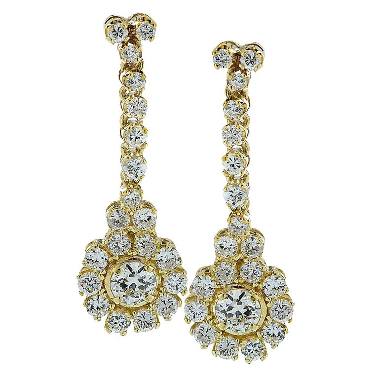 3.3 Carat Diamond Dangle Earrings