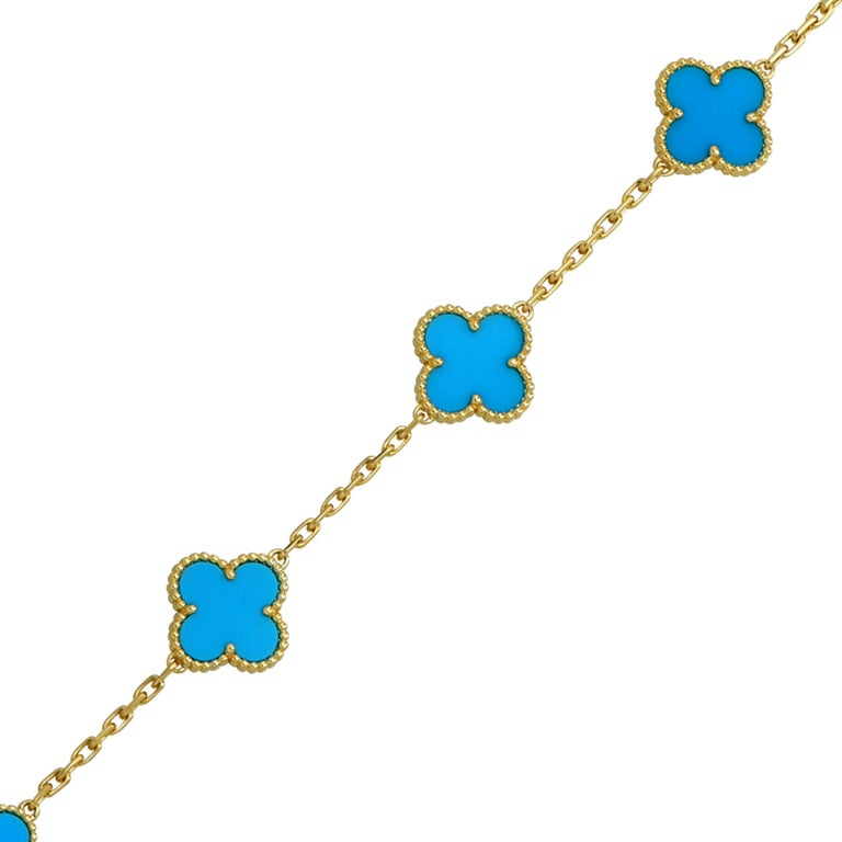 Modern Van Cleef & Arpels Vintage Alhambra Turquoise 18 Karat Yellow Gold Bracelet For Sale