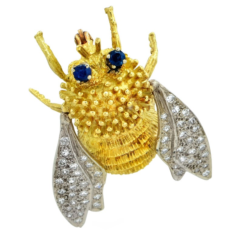 Modern Sapphire and Diamond Bee Brooch Pin For Sale