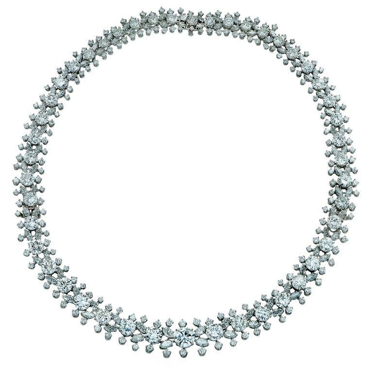 Important Midcentury Harry Winston 52 Carat Diamond Necklace Bracelet Set For Sale 2