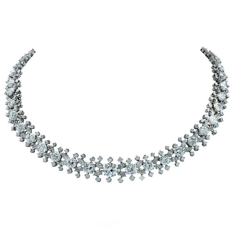 Important Midcentury Harry Winston 52 Carat Diamond Necklace Bracelet Set For Sale