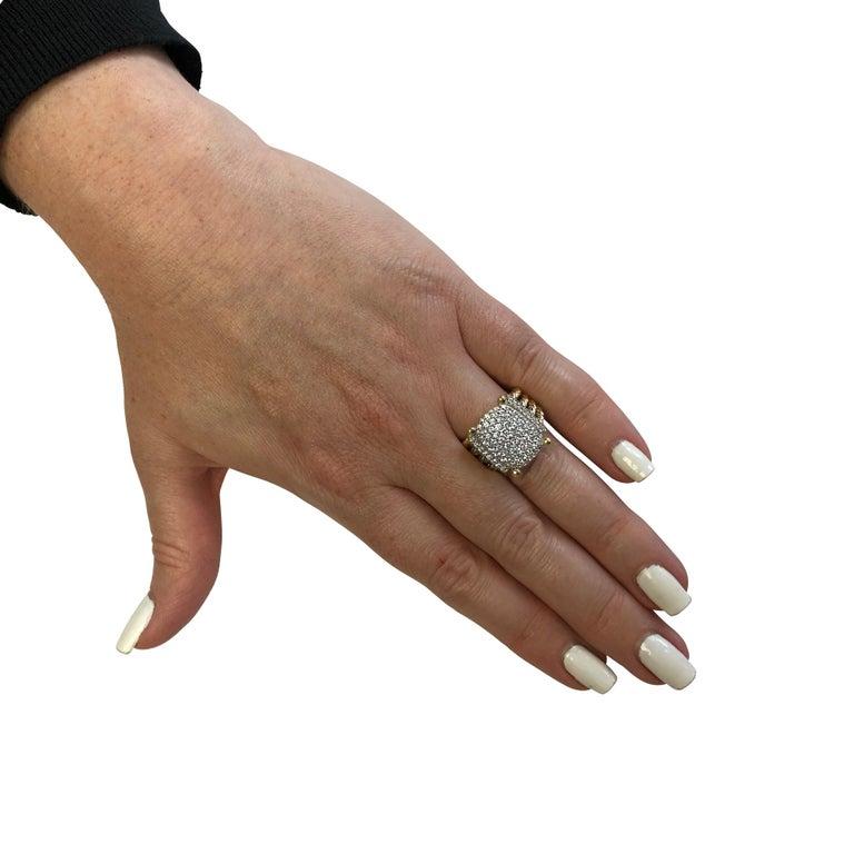 Modern David Yurman Wheaton Ring with Diamonds in 18 Karat Yellow Gold For Sale