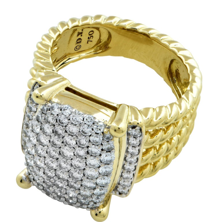 David Yurman Wheaton Ring with Diamonds in 18 Karat Yellow Gold In Excellent Condition For Sale In Miami, FL