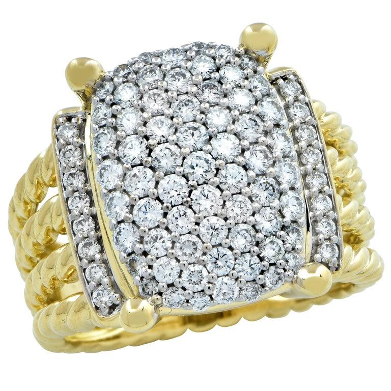 David Yurman Wheaton Ring with Diamonds in 18 Karat Yellow Gold For Sale