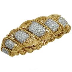 Hammerman Brothers 6.5 Carat Diamond 18 Karat Yellow Gold Bracelet