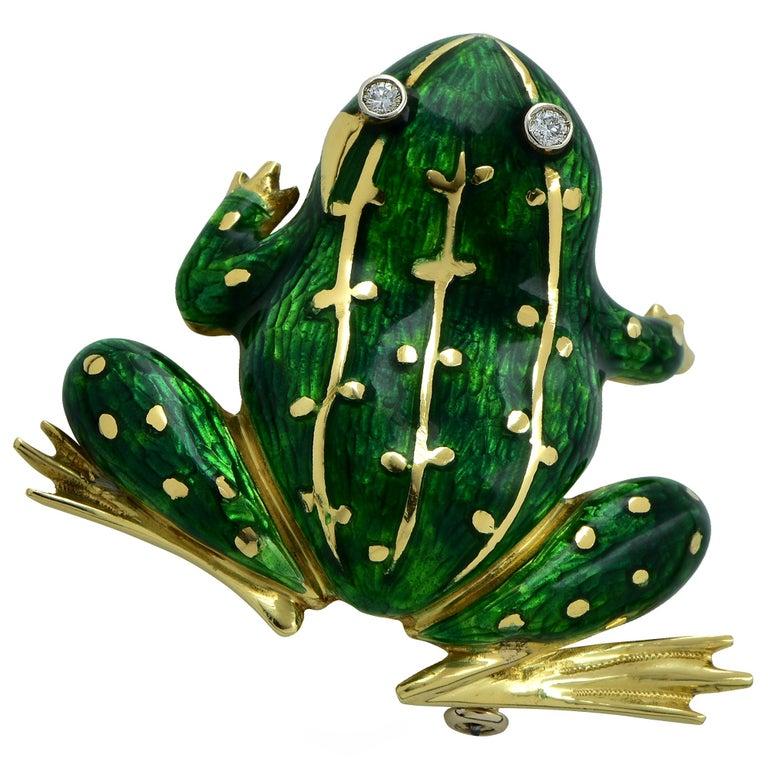 Modern Enamel and Diamond Frog 18 Karat Yellow Gold Brooch Pin For Sale