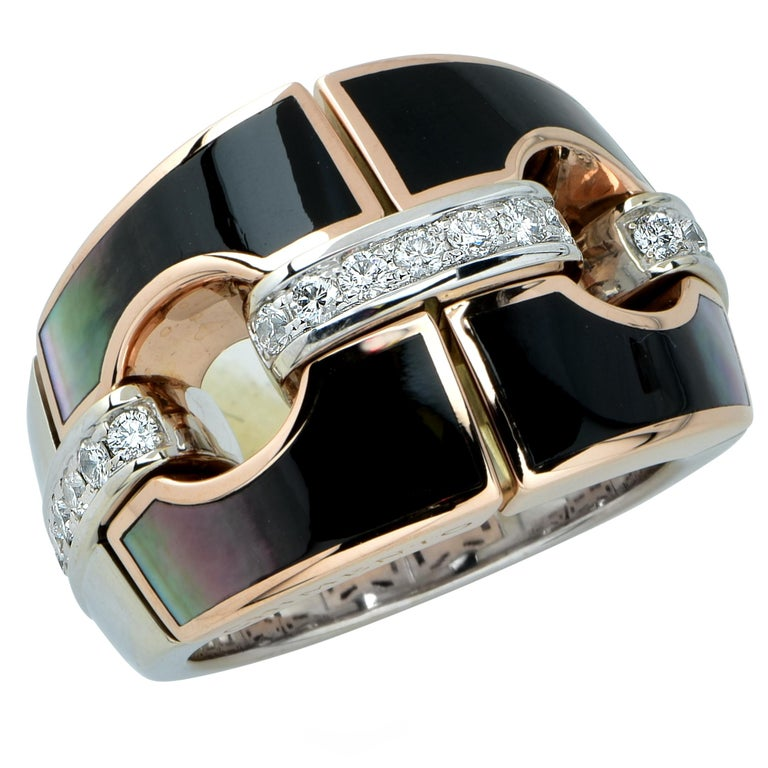 Chimento Mother-of-Pearl and Diamond 18 Karat Rose and White Gold Ring For Sale