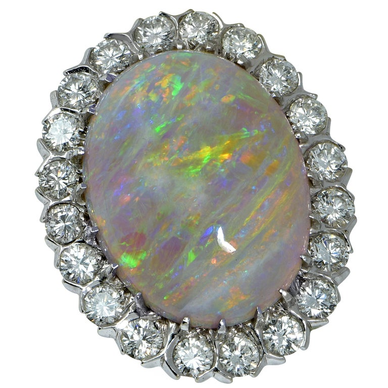 White Opal Cabochon and Diamond Halo Ring For Sale