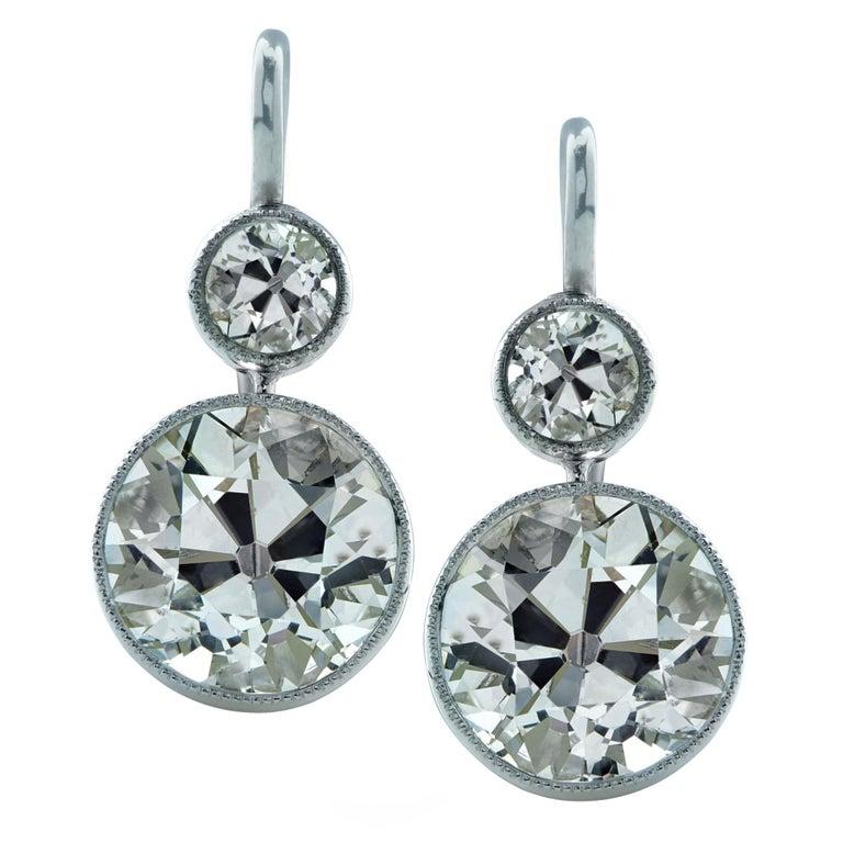 New Art Deco Style 6.67 Carat Old European Cut Diamond Dangle Platinum Earrings For Sale