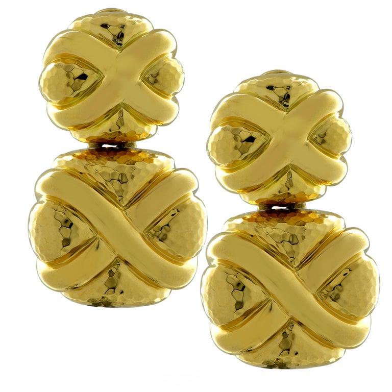 Andrew Clunn 18 Karat Yellow Gold Dangle Earrings For Sale