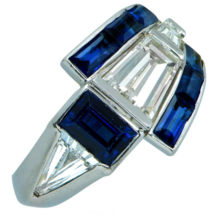 Modernist Midcentury Diamond and Sapphire Ring For Sale