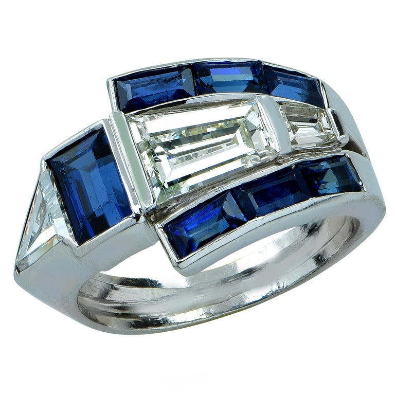 Midcentury Diamond and Sapphire Ring For Sale