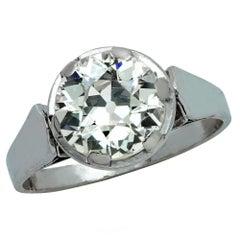 2.6 Carat Old European Diamond Platinum Engagement Ring