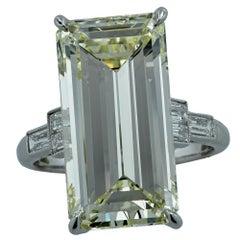 12.84 Carat Emerald Cut Diamond Platinum Engagement Ring