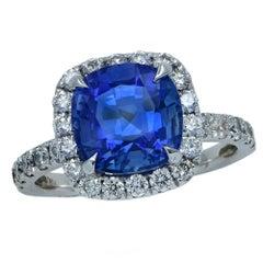 3.18 Carat Ceylon Blue Sapphire and Diamond Ring